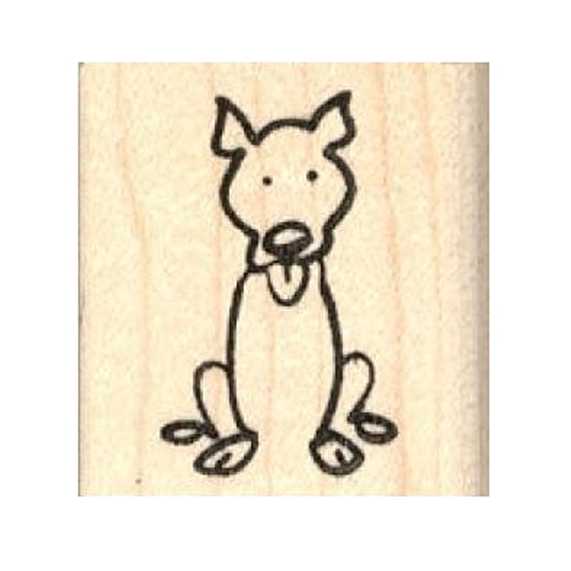 Pit Bull Stick Figure Rubber Stamp