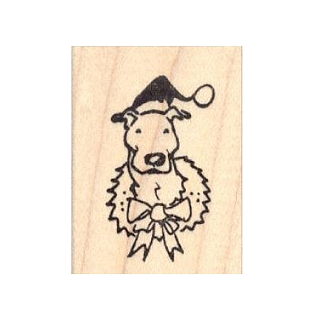 Christmas Wreath Pit Bull Rubber Stamp