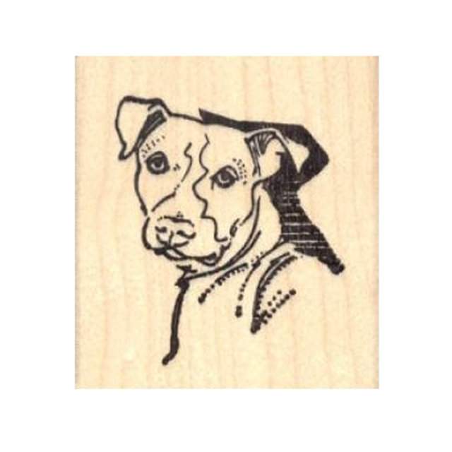 Pit Bull Shadow Rubber Stamp