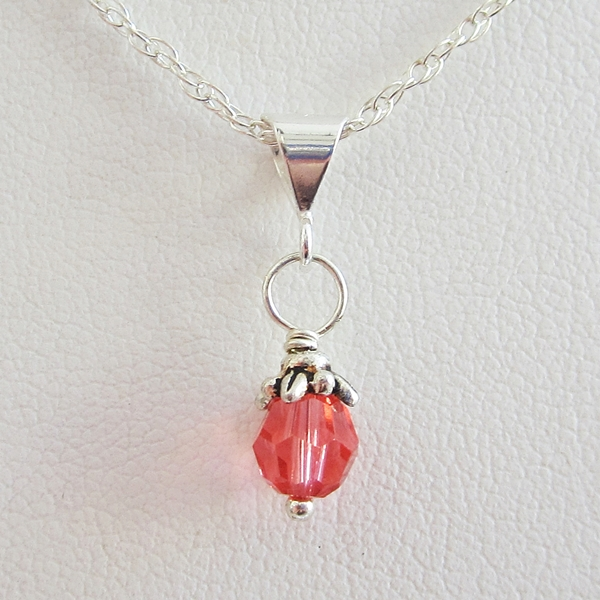 Salmon 6mm Swarovski Crystal Pendant Charm and Necklace