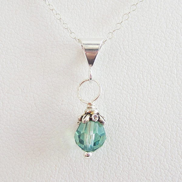 Spearmint 6mm Swarovski Crystal Pendant Charm and Necklace