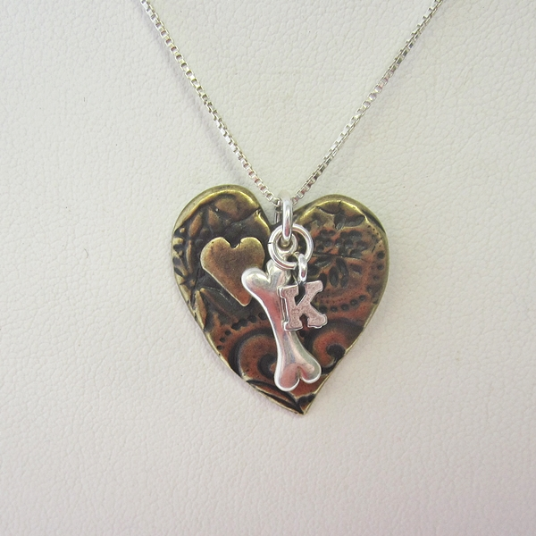 Heart Dog Bone Initial Charm Necklace