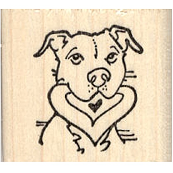 Pit Bull with Heart in Mouth Rubber Stamp
