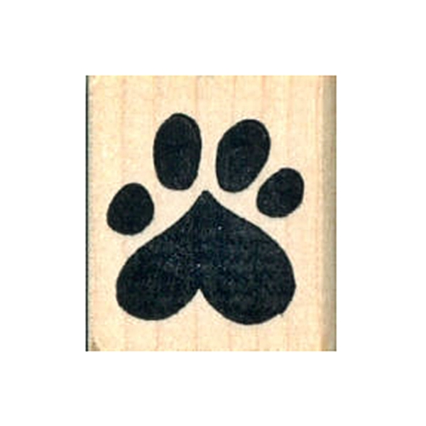 Heart Paw Print Rubber Stamp