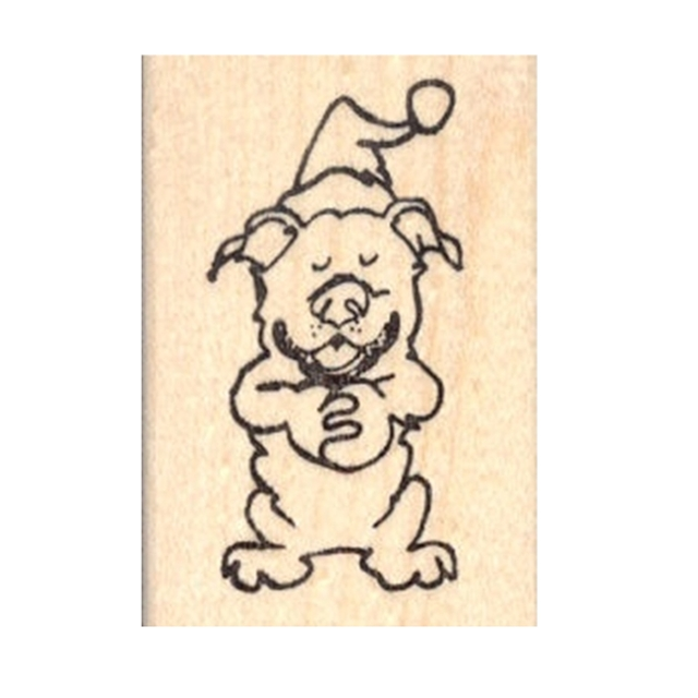 Silly Santa Hat Pit Bull Rubber Stamp