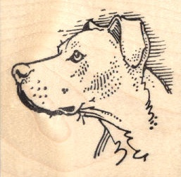 Pit Bull in Profile Rubber Stamp