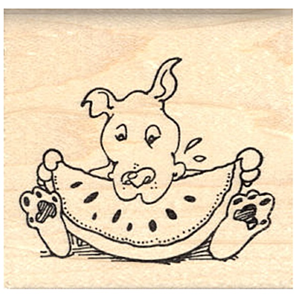 Pit Bull Eating Watermelon Rubber Stamp
