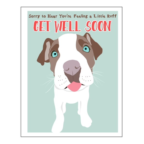 Get Well Soon Pit Bull Note Card Dog