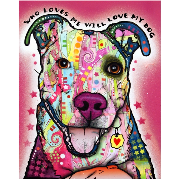 Happy Pit Bull Print by Dean Russo - Discontinued