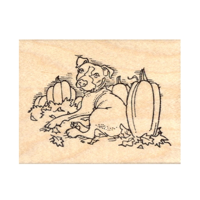 Pumpkin Patch Pit Bull Rubber Stamp