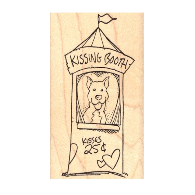 Kissing Booth Pit Bull Rubber Stamp