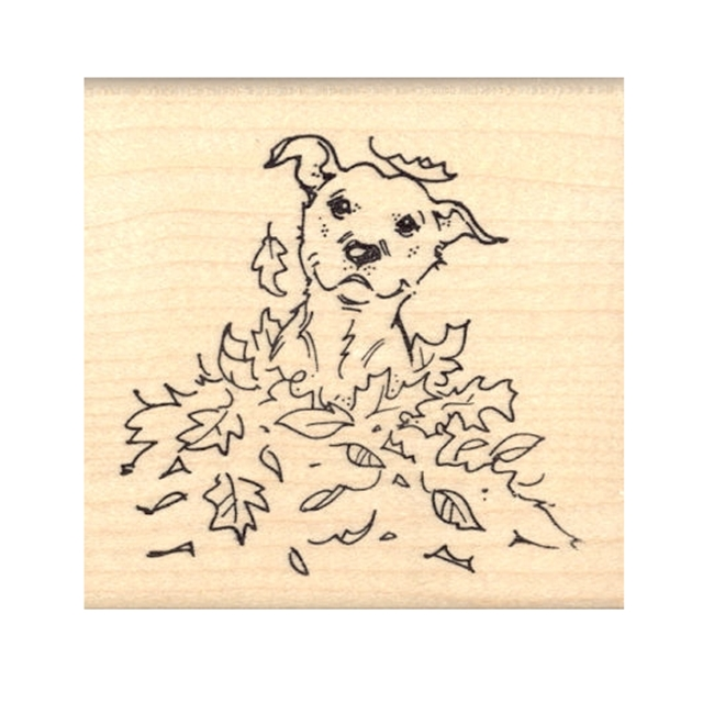 Pit Bull in Leaves Rubber Stamp