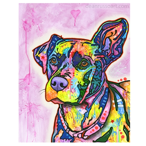 Keen Pit Bull Print by Dean Russo - ONLY 1 LEFT