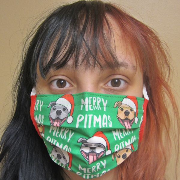 Merry Pitmas Green Dogs Pleated Face Mask