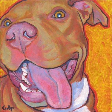 Red Nose Lucy with Tongue Pit Bull Print