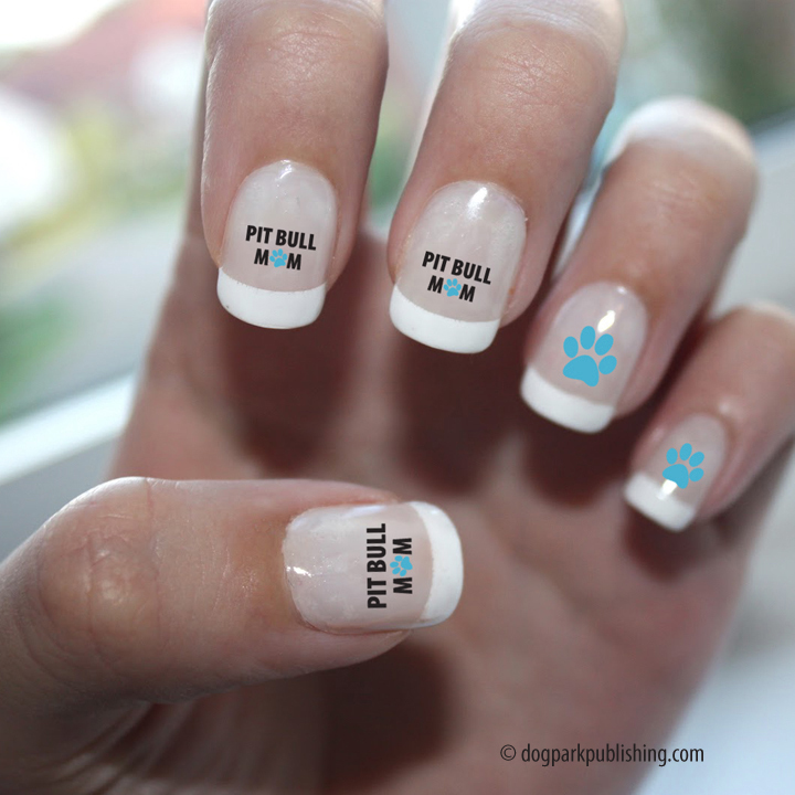 Pit Bull Mom Nail Art, Dog Park Publishing