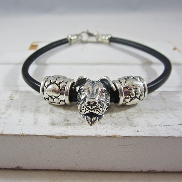 One-of-a-Kind Smiling Pit Bull and Paw Print Bead Bracelet