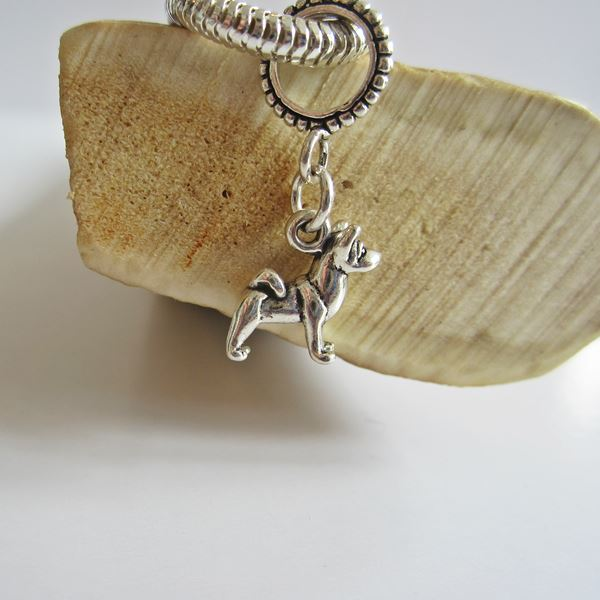 Akita Mini Sterling Silver European-Style Charm and Bracelet