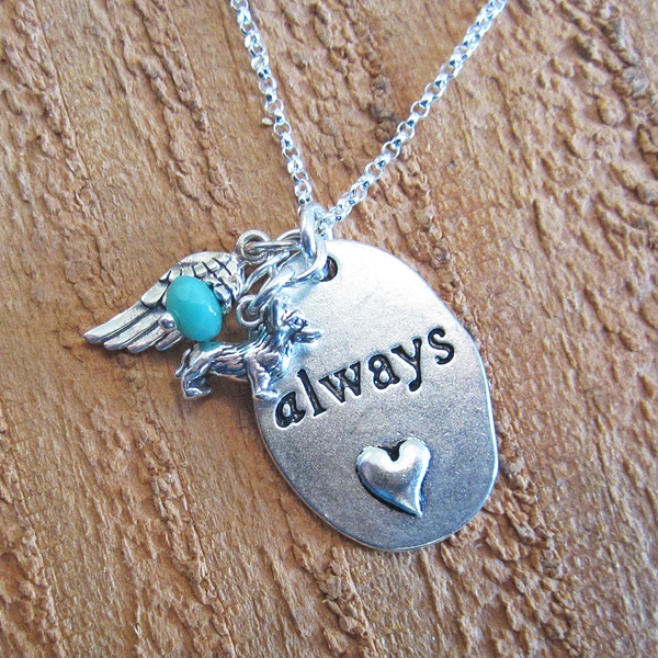 "Always Angel Wing Mini Dog Charm Necklace 30"" Ster Silver Chain"