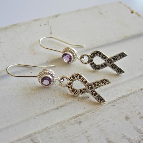 Amethyst Animal Awareness Sterling Silver Earrings