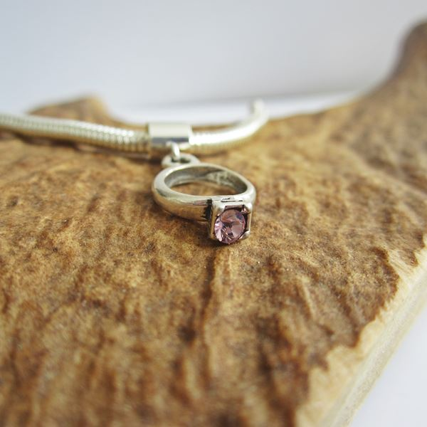 Amethyst Birthstone Ring European-Style Charm and Bracelet