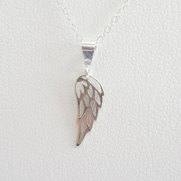Angel Wing Mini Sterling Silver Pendant Charm and Necklace