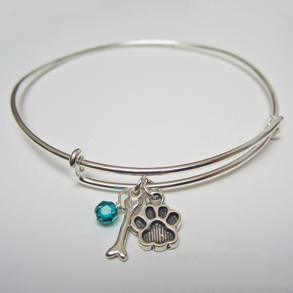 "Paw Print and Bone Stackable Bangle Bracelet (2.5""-3\"")"