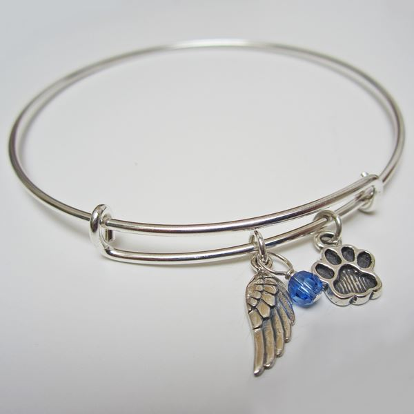 "Angel Wing and Paw Print Stackable Bangle Bracelet (2.5""-3\"")"