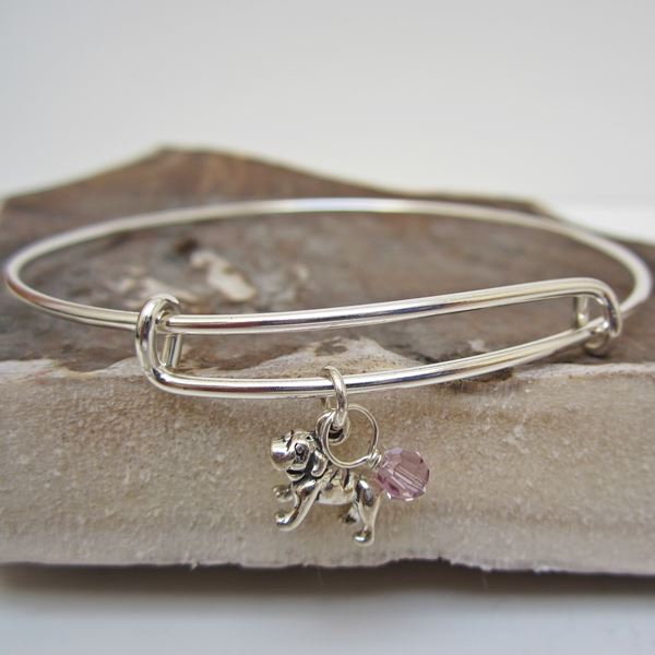 "Bulldog Mini Dangle Stackable Bangle Bracelet (2.5""-3\"")"