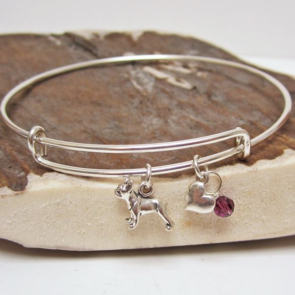"Boston Terrier Mini Heart Stackable Bangle Bracelet (2.5""-3\"")"