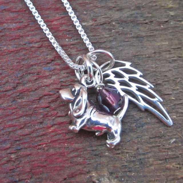 Basset Hound Mini Angel Wing Sterling Silver Necklace