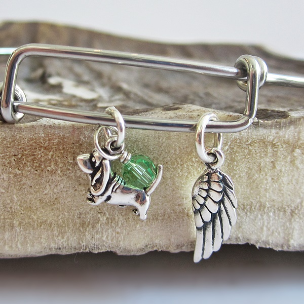 Basset Hound Mini Angel Wing Stackable Bangle Bracelet