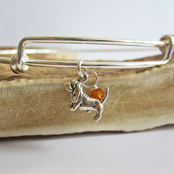 "Basset Hound Mini Dangle Stackable Bangle Bracelet (2.5""-3\"")"