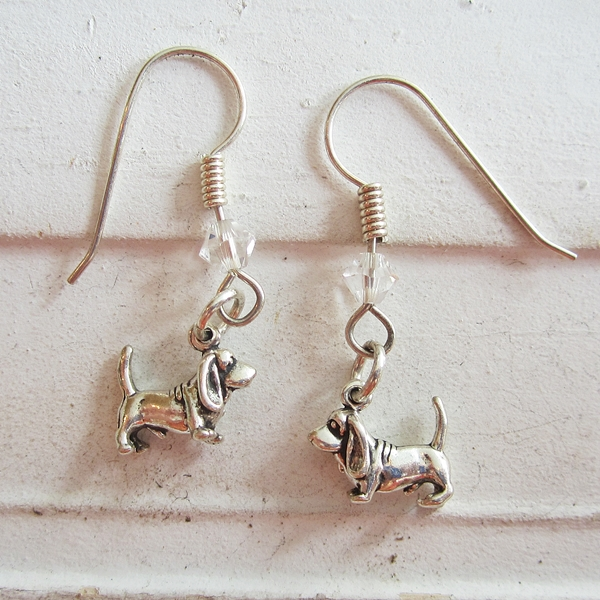 Basset Hound Sterling Silver Earrings