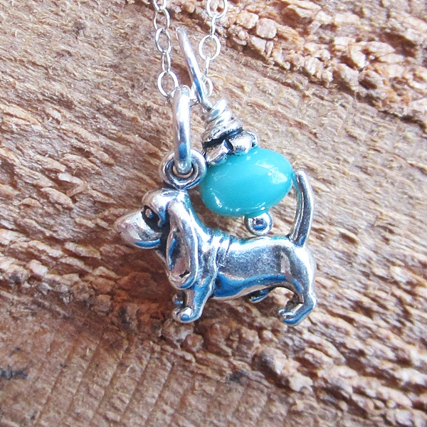 Basset Hound Glass Bead  Sterling Silver Necklace