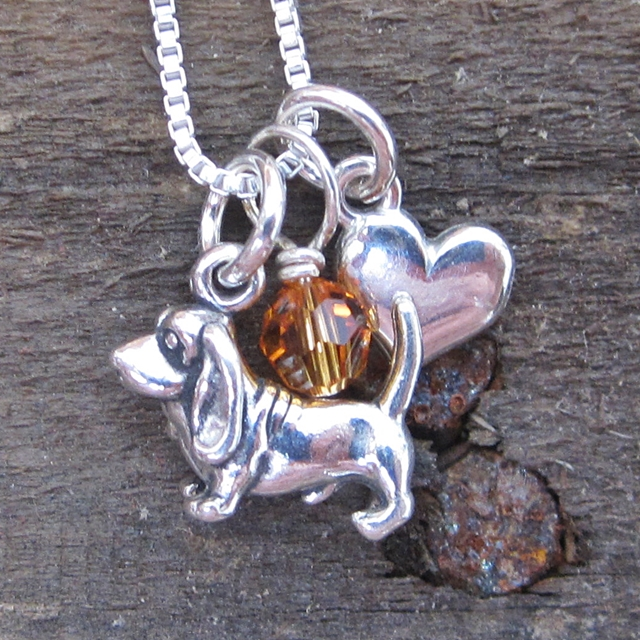 Basset Hound Mini Heart Sterling Silver Necklace