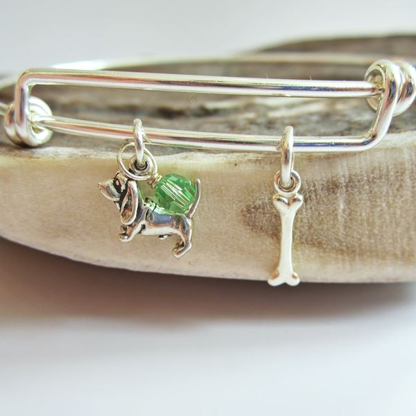 Basset Hound Mini Bone Stackable Bangle Bracelet