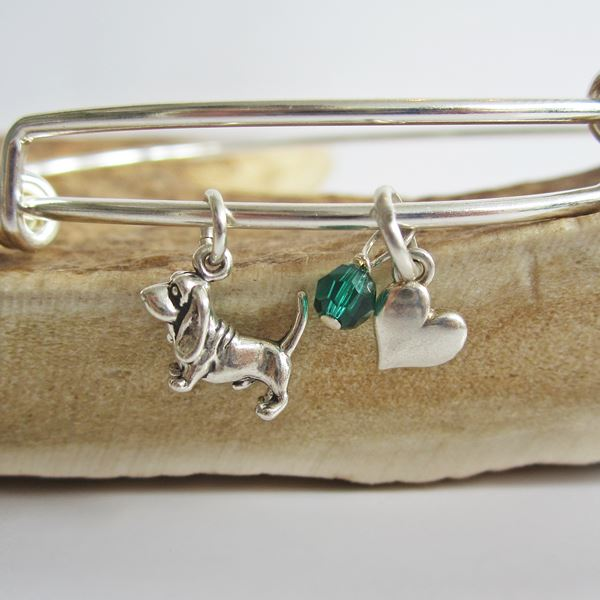 "Basset Hound Mini Heart Stackable Bangle Bracelet (2.5""-3\"")"