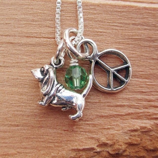Basset Hound Mini Peace Sterling Silver Necklace