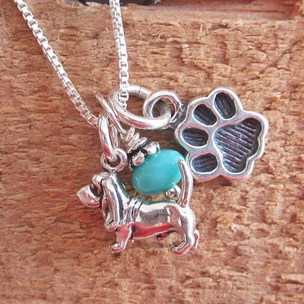 Basset Hound Mini Paw Print Sterling Silver Necklace