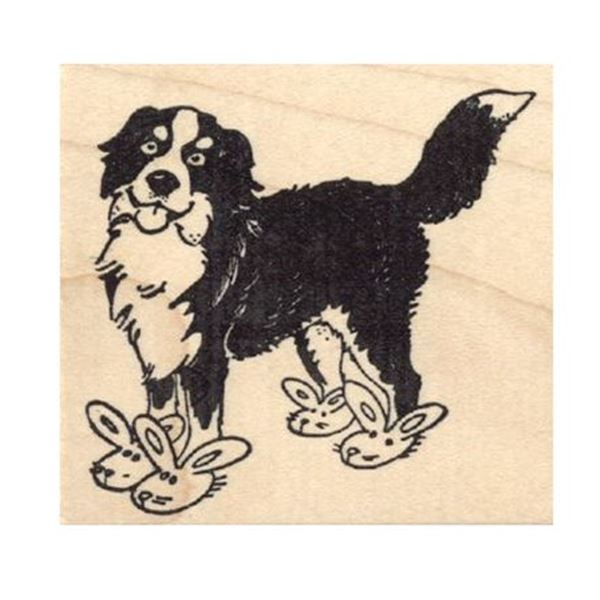 Bernese Mountain Dog in Bunny Slippers Rubber Stamp