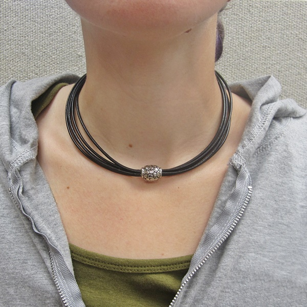 Black Italian Leather 5Strand Wrap Choker Necklace MagneticClasp