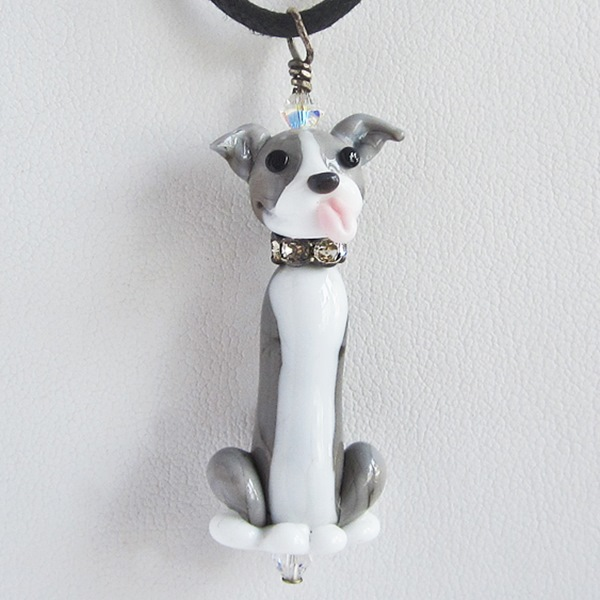 Blue Nose Glass Pit Bull Necklace