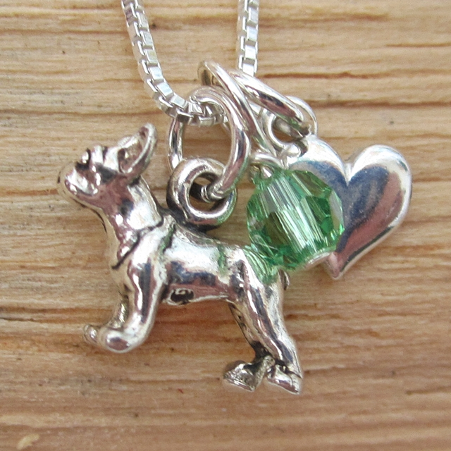 Boston Terrier Mini Heart Sterling Silver Necklace