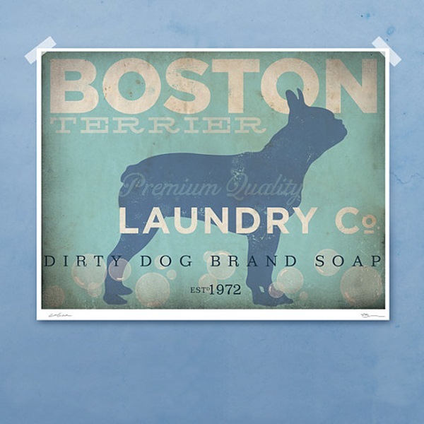 Boston Terrier Laundry Company Silhouette 8x10 GicleePrint