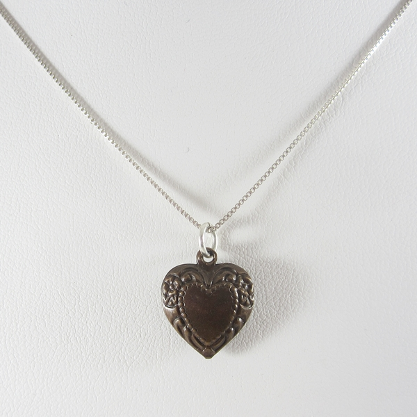 Brass Puffed Heart Necklace