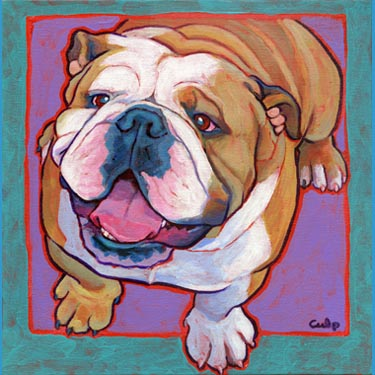 Bulldog Happy Sitting Print