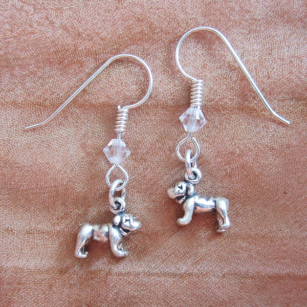 Bulldog Sterling Silver Earrings