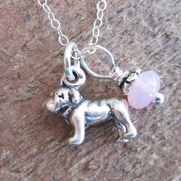 Bulldog Glass Bead Sterling Silver Necklace