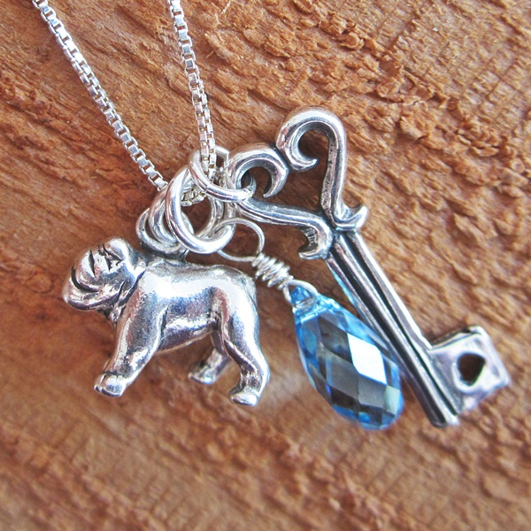 Bulldog Large Key To My Heart Sterling Silver Necklace